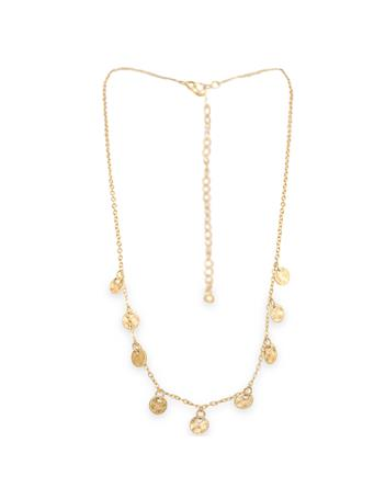 Matte Gold Disc Necklace & Earrings Set
