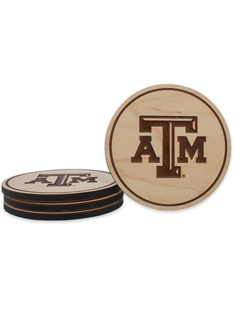 Texas A&M Beveled Logo Maple Coasters