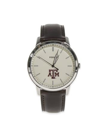 Texas A&M Fossil Men's Brown Leather Watch
