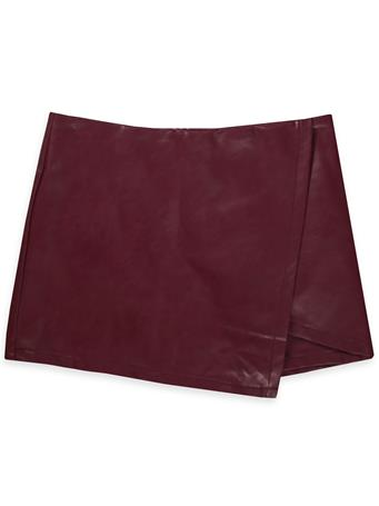 Maroon Faux Leather Asymmetrical Skirt