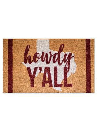 Maroon Howdy Y'all Texas Coir Doormat