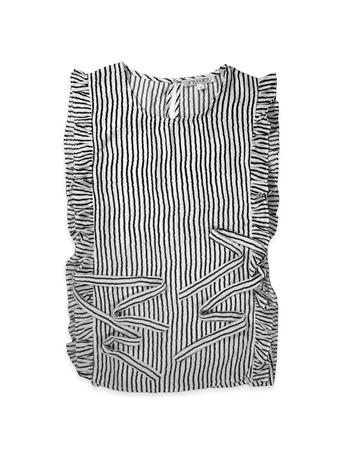 Joy Joy Black & White Striped Sleeveless Blouse