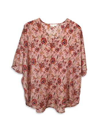Blush Jade Swiss Floral V-Neck Blouse