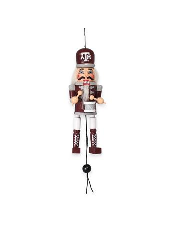 Texas A&M Nutcracker Pull String Wooden Ornament