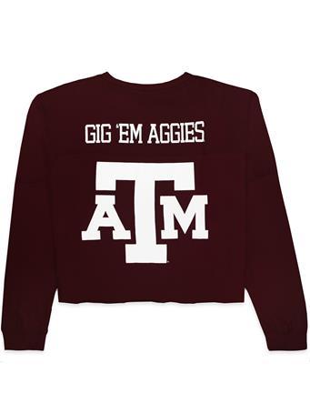 Texas A&M Gig 'Em Aggies Crop Crew Neck