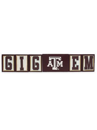 Texas A&M Gig 'Em Wooden Blocks