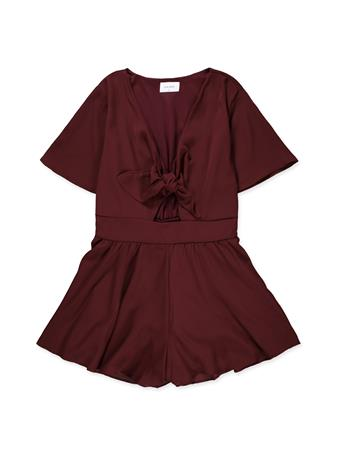 Maroon Front Bow V-Neck Romper