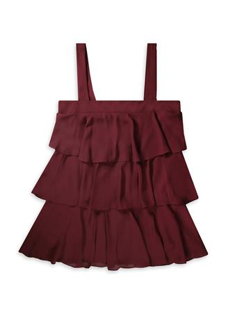 Maroon Sleeveless Tiered Ruffle Dress