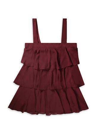 Maroon Sleeveless Tiered Ruffle Dress