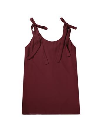 Maroon Sleeveless Adjustable Tie Swing Dress