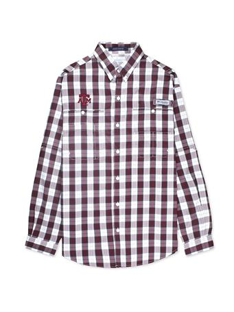 Texas A&M Columbia Super Tamiami Long Sleeve Button Down