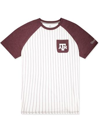 Texas A&M Pinstripe Baseball Tee