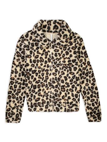 Leopard Sherpa Crop Full-Zip Jacket