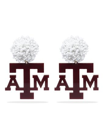 Texas A&M Acrylic ATM Logo with White Beads Earrin