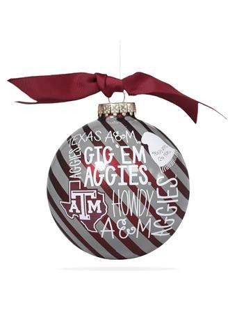 Texas A&M Gig 'Em Aggies Striped Ornament
