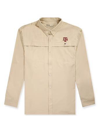 Texas A&M Xotic Tan Button Down Long Sleeve