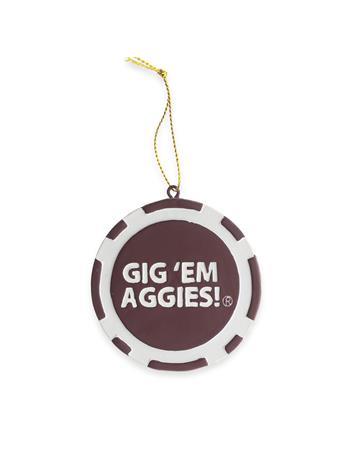Texas A&M Gig 'Em Aggies Poker Chip Ornament