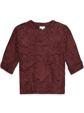 Maroon Chenille Cable Knit Top