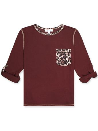 Maroon Knit Thermal Top With Leopard Pocket