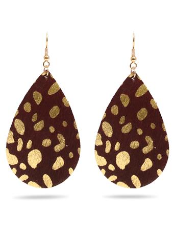 Maroon Earring with Gold Hook