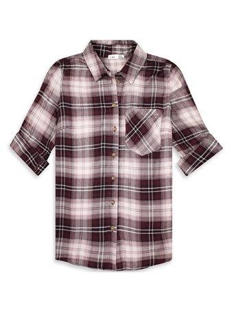 Maroon Dex Longsleeve Plaid Button Up Front Top