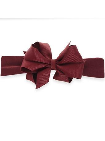 Maroon Infant Mini Double Bow On Lycra Headband