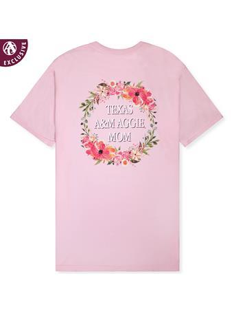 Texas A&M Floral Aggie Mom Wreath T-Shirt