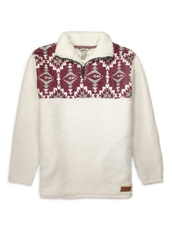 White & Maroon Aztec Print Sherpa Pullover