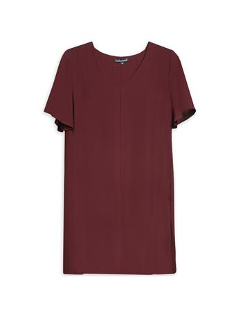 Maroon V Neck Slouch Dress