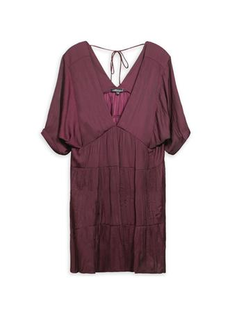 Maroon Deep V Tiered Baby Doll Dress