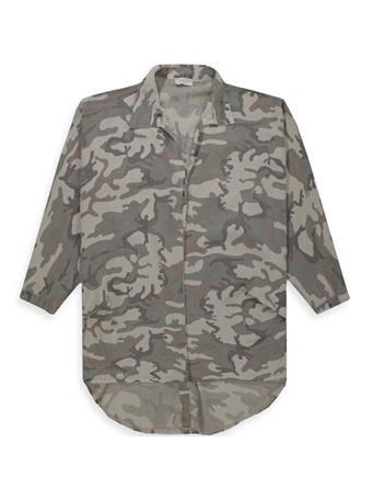Suzy D Oversized Button Back Camo Tunic