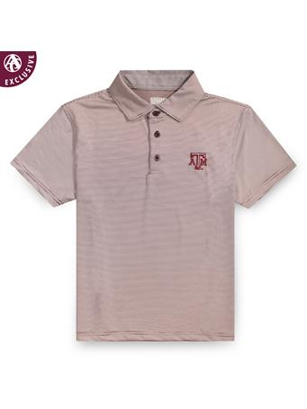 Texas A&M Youth Micro Stripe Performance Polo