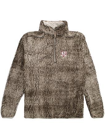 Texas A&M 1/4 Zip Heathered Smoke Sherpa Pullover