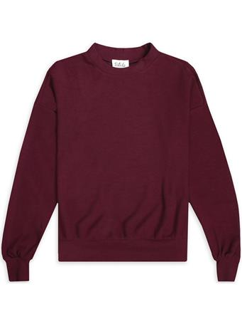 Maroon Ribbed Knitted Puff Sleeve Top