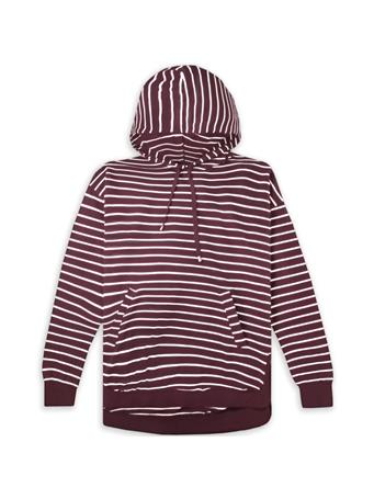 Maroon Z Supply Striped Dakota Pullover Hoodie