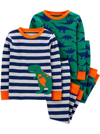 CARTER'S - 4 Piece Snug-Fit Cotton Pajama Set - Boy 12-24M NOVELTY