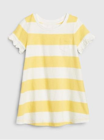 GAP - Toddler Short Sleeve Pocket Dress Yellow Stripe YELLOW-STRIPE