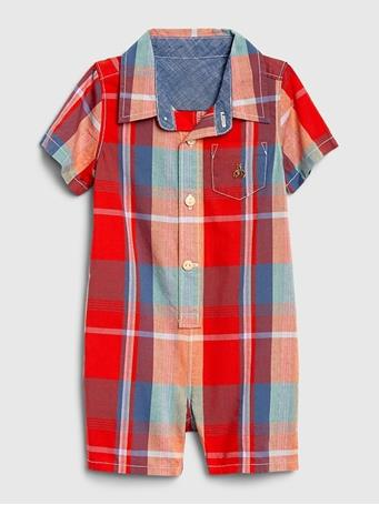 GAP - Baby Plaid Woven Shorty NEON-CORAL-FLAME