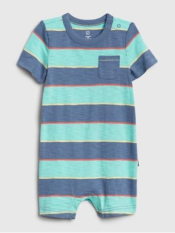 GAP - Baby Stripe Chest Pocket Shorty AQUA-TIDE