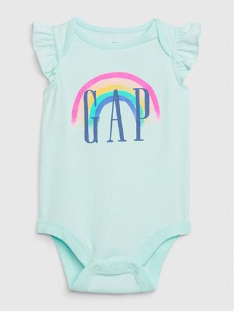 GAP - Baby GAP Logo Ruffle Bodysuit GLASS-OF-WATER