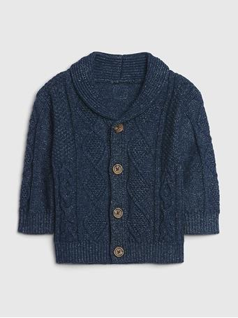 GAP - Baby GAP Cable Knit Cardigan Sweater BLUE-INDIGO