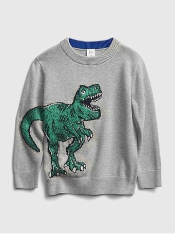 GAP - Toddler Dino Novelty Sweater LT-HEATHER-GREY