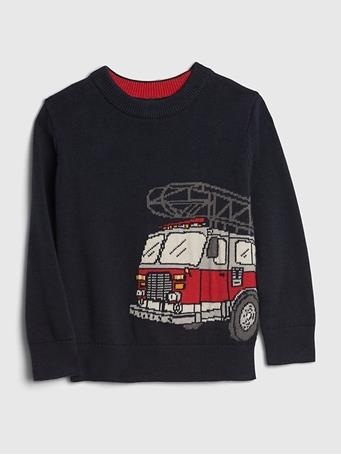GAP - Toddler Fire Truck Novelty Sweater TAPESTRY NAVY