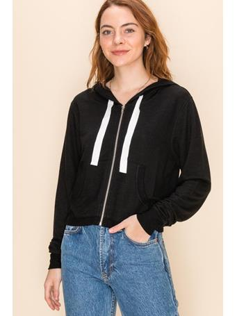 DOUBLE ZERO - Zip Front Cropped Hoodie BLACK