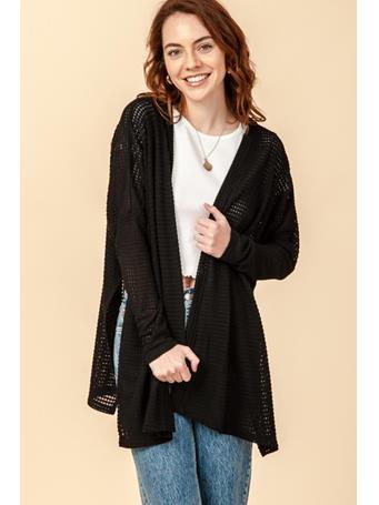 DOUBLE ZERO - Open Front Long Sleeve Poncho Style Cardigan BLACK