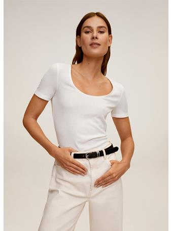 MANGO - Ribbed T-Shirt Ribdance NATURAL-WHITE