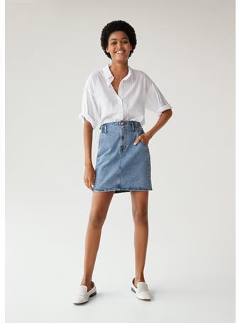 MANGO - Paper Bag Skirt MEDIUM-BLUE