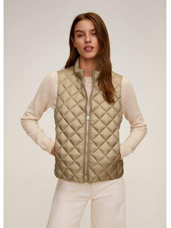 MANGO - Quilted Waistcoat Vest GOLD