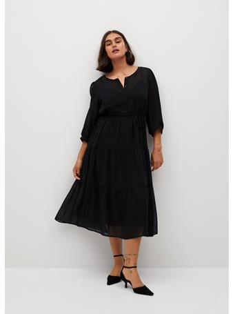 Violeta by MANGO - Plumeti Ruffle Dress BLACK