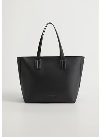 MANGO - Edison Saffiano-Effect Bag BLACK